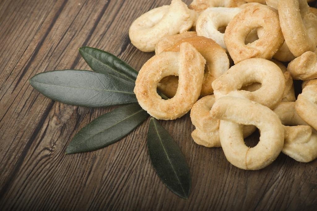 Taralli on the wood table,Traditional Italian snack from Puglia