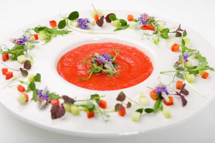 Delicious gazpacho soup served with garnish on the plate